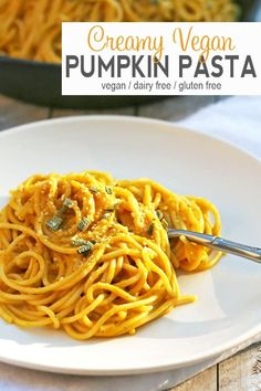 This Vegan Pumpkin Pasta is the perfect fall dinner. The sauce highlights pumpkin while being rich and creamy without the dairy. This hearty pasta will be a hit at dinnertime! Vegan Dinner Recipes, Vegan Dinners, Pasta Recipes, Vegetarian Recipes, Healthy Recipes, Vegan Pumpkin, Pumpkin Recipes, Fall Recipes, Pumpkin Pasta Sauce