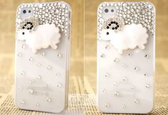 Lovely sheep Rhinestone 3D Hard phone Case Cover for iphone4/4s