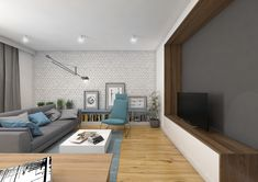 Tu architekci | Wnętrze mieszkania na Teofilowie Kitchen Decor, Conference Room, Flat Screen, Living Room, Table, House, Furniture, Fireplaces, Home Decor
