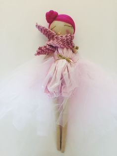 Image of Handmade cloth doll. Pretty in pink doll. Inspiration for doll making. Please choose cruelty free vegan materials and supplies