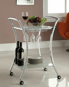 Anker collection chrome plated curved legs silver finish black tempered glass shelves tea serving kitchen cart with casters