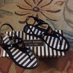 Henri Bendel Newyork sandals Brand new with box , fun stripes , locket on sandal!! henri bendel Shoes Sandals