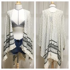 Poncho Style Boho Cardigan LOVE THIS Poncho style boho cardigan. Open style, no sleeves. Fringe bottom. Light weight. Skinny jeans or shorts paired with a bralette, tank or form fitting shirt... Looks great & can me worn with anything! ALSO AVAILABLE IN NAVY BLUE   ✨ Material: 100% Rayon ✨ One size fits all ✨ 1st & 2nd photo courtesy of April Spirit Tops