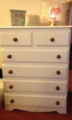 Re-Vamped Pine Chest of Drawers, using Dulux Muliti-Surface Primer and Undercoat (white) then Crown Period Colours Eggshell (Aged White)