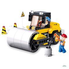 Costruzioni RULLO STRADALE CON OPERAI ED ACCESSORI mattoncini Sluban 0539 Per bambini