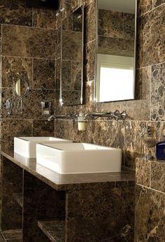 dark emperador bathroom, WWW.CLineMarbleAndGraniteInc.COM  2100 JERICHO TPKE  NEW HYDE PARK, NY 11040  ... ... 516-742-8886    or follow us on...  www.facebook.com/ClineStoneandTile