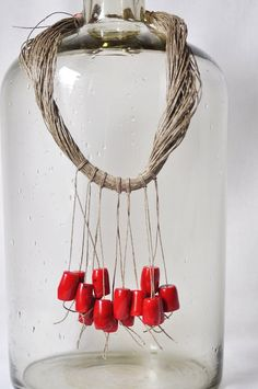 Linen necklace with natural coral Gemstone by GaleriaBozka on Etsy, $55.00