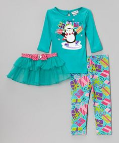Take a look at this Blue Holiday Tee Set - Toddler & Girls by Youngland on #zulily today!