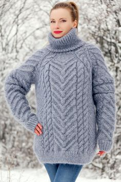 Cable knit sweater hand knitted thick mohair pullover fuzzy jumper by SuperTanya Mohair Sweater, Cable Knit Sweaters, Women's Sweaters, Icelandic Sweaters, Mohair Yarn, Hand Knitted Sweaters, Sweater Design, S Models, Hand Knitting