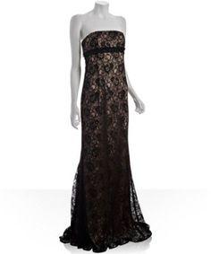 Badgley Mischka black lace empire waist gown