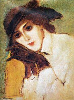 de Jozsef Rippl Ronai - Lady with black gloves