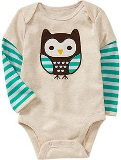 Graphic 2-in-1 Bodysuits for Baby. Light Oatmeal owl design. | Old Navy