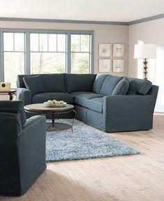 Denim slipcovered couch in Marina