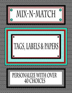 Little Sweeties Chevron Tag and Label set includes 34 tags and labels and 13…