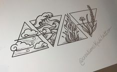 Dreieckiges Tattoos, Body Art Tattoos, Small Tattoos, Sleeve Tattoos, Geek Tattoos, Movie Tattoos, Four Elements Tattoo, 4 Elements, Geometric Tattoo Elements