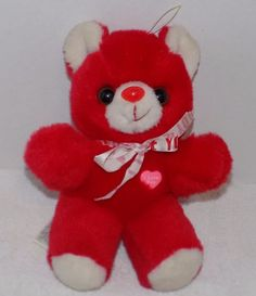 """9"""" VINTAGE Red & White Plush I LOVE YOU Heart & Bow Bear"""