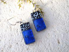 Petite Earrings, OOAK Handmade Blue Silver Black Earrings, Dichroic Earrings, Dangle Drop Earrings, Sterling Earrings, ccvalenzo, 031230e101