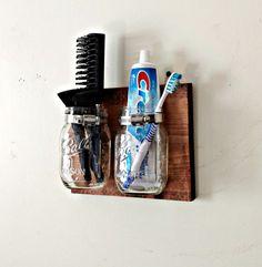 Mason Jar Organizer Kitchen Bathroom Office by TwinOakRustics