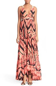 Tracy Reese Plunging V-Neck Silk Maxi Dress available at #Nordstrom