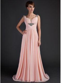 A-Line/Princess Scoop Neck Sweep Train Chiffon Tulle Mother of the Bride Dress With Ruffle Beading (008015645)