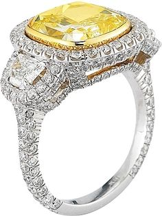 Natural Yellow Cushion Cut Diamond Ring- 5.90ct FLY VS2 100-261