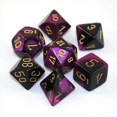 Set of 7 Chessex Gemini Black-Purple w/gold RPG Dice