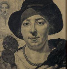 Dick Ket, magisch tekenaar. Arnhem Portret van Nel Schilt met zelfportret van de kunstenaar op de achtergrond.
