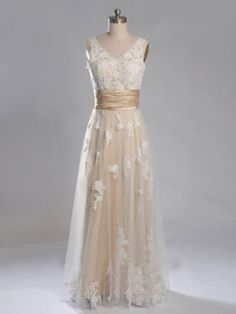 New-Lace-Champagne-Wedding-Dresses-Bridal-Gown-Custom-2-4-6-8-10-12-14-16-18-20