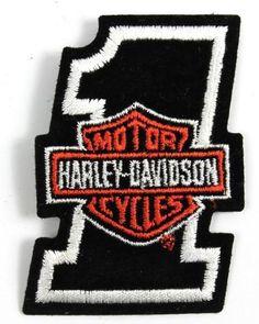 NOS Harley Davidson Black Number 1 Bar Shield vintage Patch