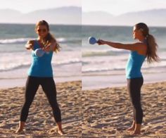 Kettlebell Swing and Split Overhead Lunge: The Tone It Up Girls have two basic kettlebell exercises that will have you burning lots of calories. Watch their video on how to perfect the kettlebell swing and split overhead lunge here (there are two exercise versions for both beginners and advanced kettlebell users).