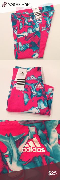 Adidas Print Crop Leggings Women's Adidas Climalite cropped leggings. Come a few inches above the ankle. 87% Polyester, 13% Spandex. Bright pink with turquoise leaves print. Will get inseam and measurements upon request. Adidas Pants Leggings