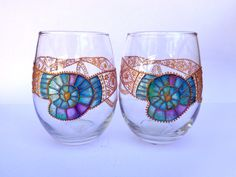 Wine/ water glasses. Set of 2. Blue ammonite. Hand painted glass by OrdinaryWWonders on Etsy