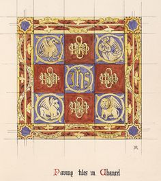 Pugin's design for church tiles, hand-drawn and colored