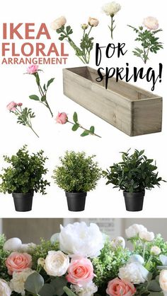"I've had so many people ask about the IKEA floral arrangement I did for Spring! The first question on everyone's mind: ""wait, those flowers are all from IKEA???"" Answer: …yup! This post contains affiliate links for your convenience. Supplies I started with a white, barnwood box that I had created out of 2×4's. You can find a similar ones here: Wood Planter Box 3 IKEA FEJKA faux boxwood plants. If"
