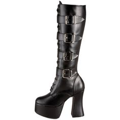 Demonia Women's 'Slush-225' Black Chunky Heel Mid-calf Boots