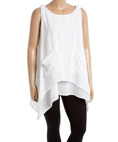 Another great find on #zulily! White Layered Cotton Sidetail Tunic - Plus #zulilyfinds