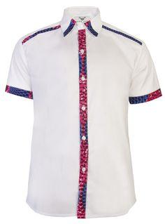 Asante short sleeve African print shirt-White Nsubra - OHEMA OHENE AFRICAN INSPIRED FASHION - 1
