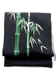 Vibrant Bamboo Pattern Sioze Black Nagoya Obi
