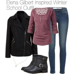 """The Vampire Diaries - Elena Gilbert Inspired Winter School Outfit"" by staystronng on Polyvore"