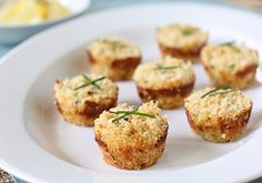 Mini cream cheese crabcakes baked in a muffin tin!