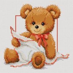 Teddy for girls and boys (free chart) Cross Stitch For Kids, Cross Stitch Baby, Cross Stitch Animals, Cross Stitch Charts, Cross Stitch Designs, Cross Stitch Patterns, Cross Stitching, Cross Stitch Embroidery, Crochet Cross