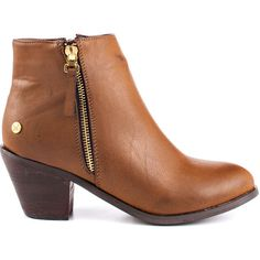 $50 Blink Women's Maraa - Cognac featuring polyvore, fashion, shoes, boots, ankle booties, brown, block heel booties, block heel ankle boots, mid heel ankle boots, short boots and brown ankle booties