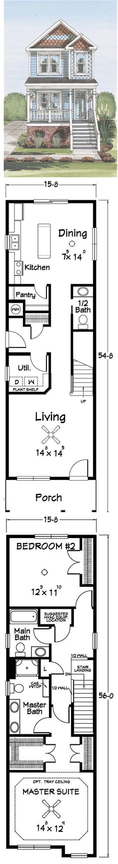 Narrow lot home plan 91470 total living area 1400 sq for City lot house plans