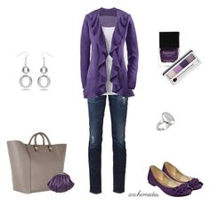 Purple, Purple, Purple by archimedes16 on Polyvore featuring polyvore, ファッション, style, AG Adriano Goldschmied, Victoria Beckham, Jane Norman, Fantasy Jewelry Box, Clinique, Butter London, skinny jeans, top handle bags, ballet flats, long cardigans, silver jewelry, coin purses, shopper bags and layers
