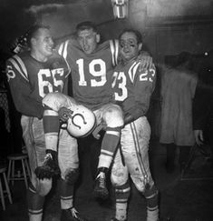Teammates Steve Myhra (left) and Carl Tasoff (right) carry Baltimore quarterback Johnny Unitas into the dressing room after the Colts defeated the Giants, in the championship game on Dec. Baltimore Colts, Indianapolis Colts, Baltimore Maryland, Custom Football, Vintage Football, School Football, Football Team, Alabama Football, Johnny Unitas