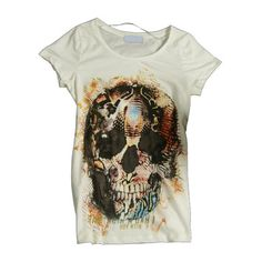 White Skeleton Print Cotton T-Shirts In Punk Style ($19) ❤ liked on Polyvore