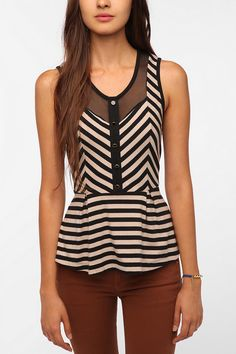 Stripes and Mesh Peplum Tank Top