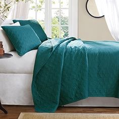 Shop for Hampton Hill Bennett Place Velvet Touch Peacock Coverlet Set. Get free delivery On EVERYTHING* Overstock - Your Online Fashion Bedding Store! Get in rewards with Club O! Turquoise Bedding, Teal Bedding, Home Bedroom, Bedroom Ideas, Master Bedroom, Bedrooms, Bedroom Decor, Quilt Set, Bedroom Fireplace