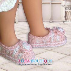 Красивые авторские туфли крючком из хлопка двух цветов - розового и белого. Украшены двойным цветком с бусинкой в центре. Doll Clothes, Slippers, Dolls, Shoes, Fashion, Sneaker, Zapatos, Moda, Shoes Outlet