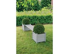 Plantenbak bank grijs - Esschert Design #grey #green #plants #grass #plenter #bank #garden